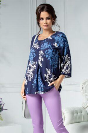 Bluza Alexia bleumarin cu imprimeu alb si bleuBluze
