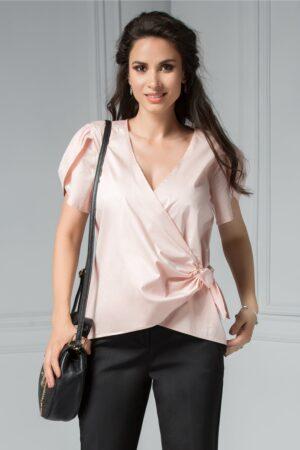 Bluza Brise Glafira roz petrecuta cu manecute vaporoaseBluze