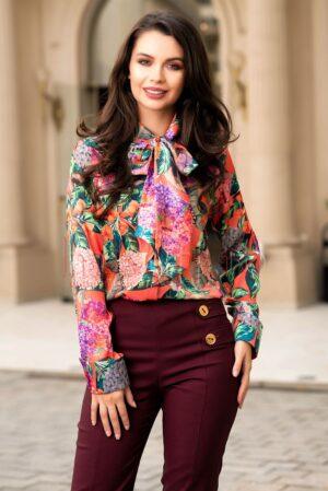 Bluza Pretty Girl orange cu imprimeu floral si funda la gatBLUZE
