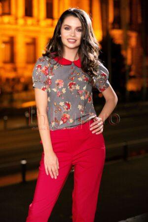 Bluza Pretty girl imprimat cu guler rosuBLUZE
