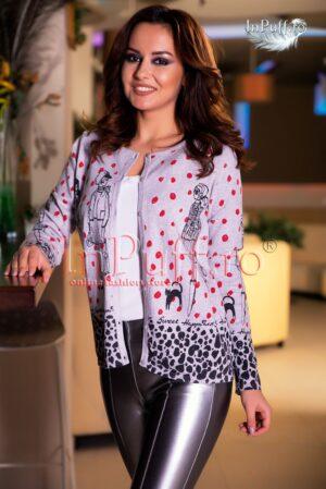 Bluza dama gri cu nasturi si model imprimatPULOVERE