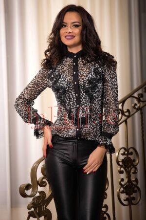 Bluza eleganta din voal cu imprimeu alb negruBLUZE