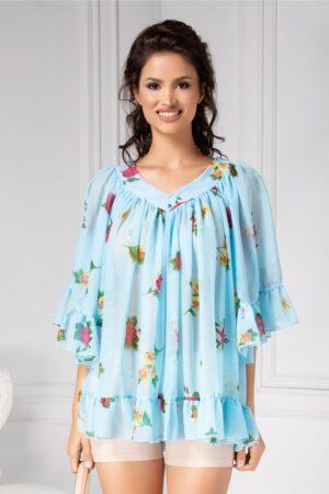 Bluza vaporoasa de vara bleu cu floriBluze