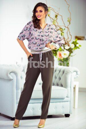 Compleu Tili Kaki cu Imprimeuri FloraleRochii