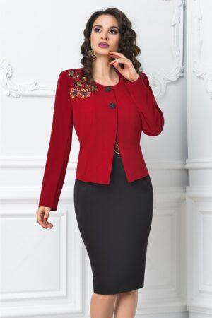 Compleu dama din 2 piese rosu negru cu rochieCompleuri