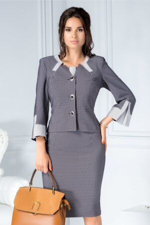 Compleu gri office din 2 piese rochie si sacouCompleuri