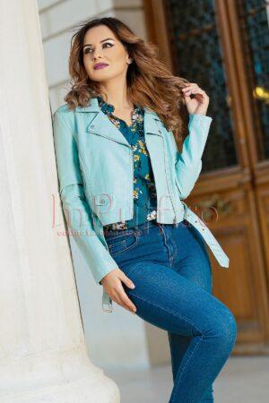 Jacheta bleu scurta din piele ecologicaPALTOANE si GECI