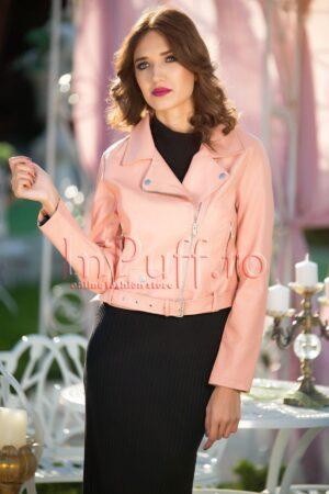 Jacheta scurta din piele ecologica roz pudraPALTOANE si GECI