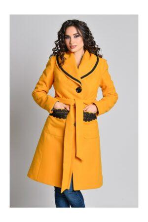 Palton Aura Carina galben mustar cu broderie si cordonPaltoane