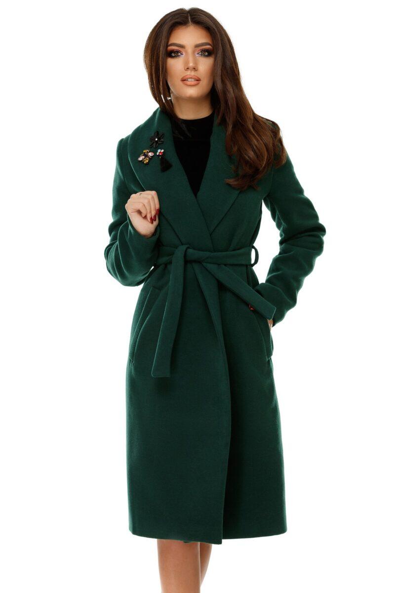 Palton Cezara verde din stofa cu aplicatiiPaltoane