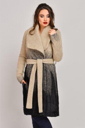 Palton Onida bej in degrade din lana cu blanitaPaltoane