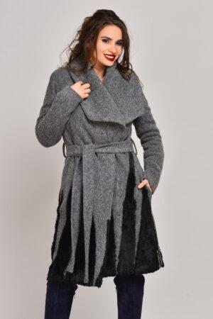 Palton Onida gri din lana cu blanita neagraPaltoane