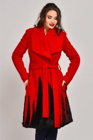 Palton Onida rosu din lana cu blanitaPaltoane