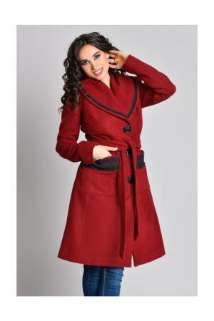 Palton bordo Aura Carina cu broderie la buzunarePaltoane