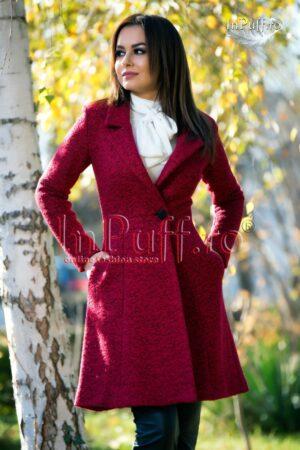 Palton dama elegant trei sferturi lana bordoPALTOANE si GECI