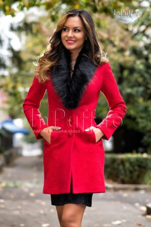 Palton elegant lana rosie cu blanitaPALTOANE si GECI