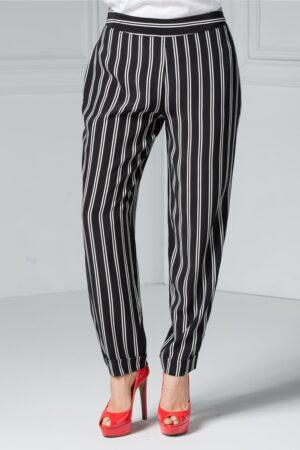 Pantalon Brise Kira negru cu dungi albe