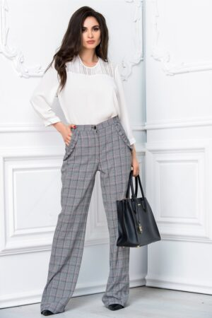 Pantalon Leonard Collection evazat gri officePantaloniGri