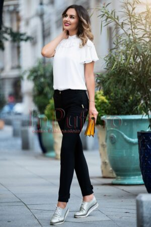 Pantaloni Pretty Girl eleganti negri cu funditePANTALONI  COLANTI