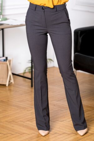 Pantaloni Ronna office negri cu buline albe miciPantaloni