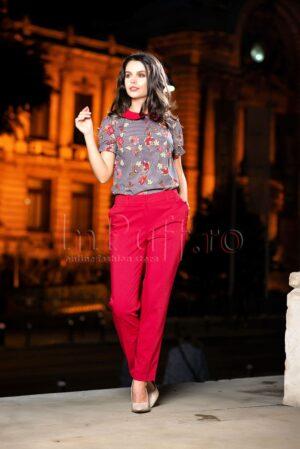 Pantaloni dama bordeaux din tercotPANTALONI  COLANTI