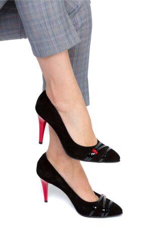 Pantofi stiletto negri cu toc rosu de ocazieIncaltaminteNegru