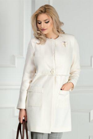 Pardesiu Leonard Collection crem cu brosa elegantPaltoane