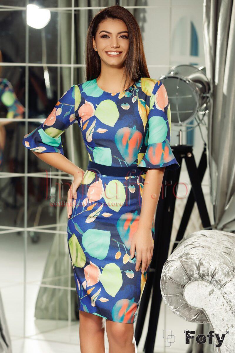 Rochie bleumarin cu imprimeu de frunze tip picturaROCHII