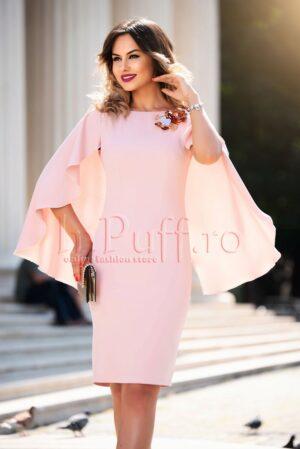 Rochie conica roz cu maneci ampleROCHII