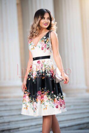 Rochie de seara din tafta cu imprimeu floral spectaculosROCHII