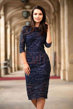 Rochie de seara din tul bleumarin cu paieteROCHII