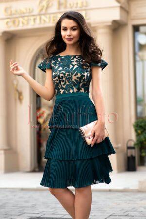 Rochie de seara verde cu bust din dantela si pliseuriROCHII