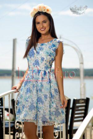 Rochie din voal imprimeu floral albastruROCHII DE ZI