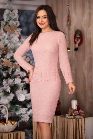 Rochie eleganta roz pal cu fir lucios argintiuROCHII