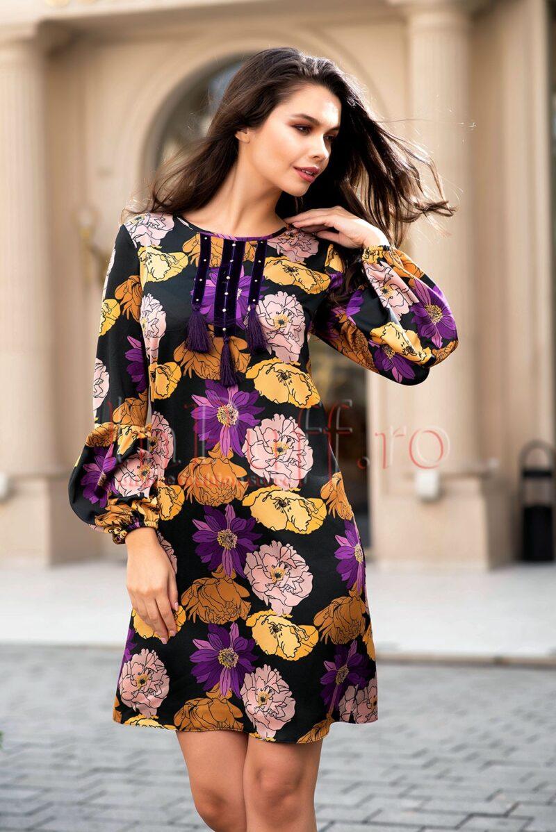 Rochie neagra sofisticata din voal cu imprimeu floralROCHII