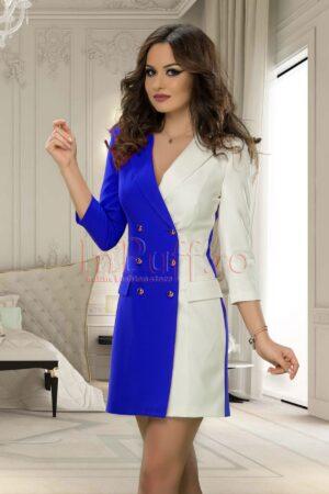 Rochie tip sacou eleganta albastru electric-alb cu nasturi argintiiROCHII