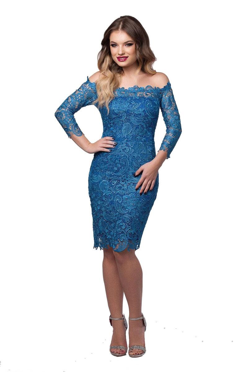 rochie de seara din dantela brodata pe umeri albastru imperial zaira 5