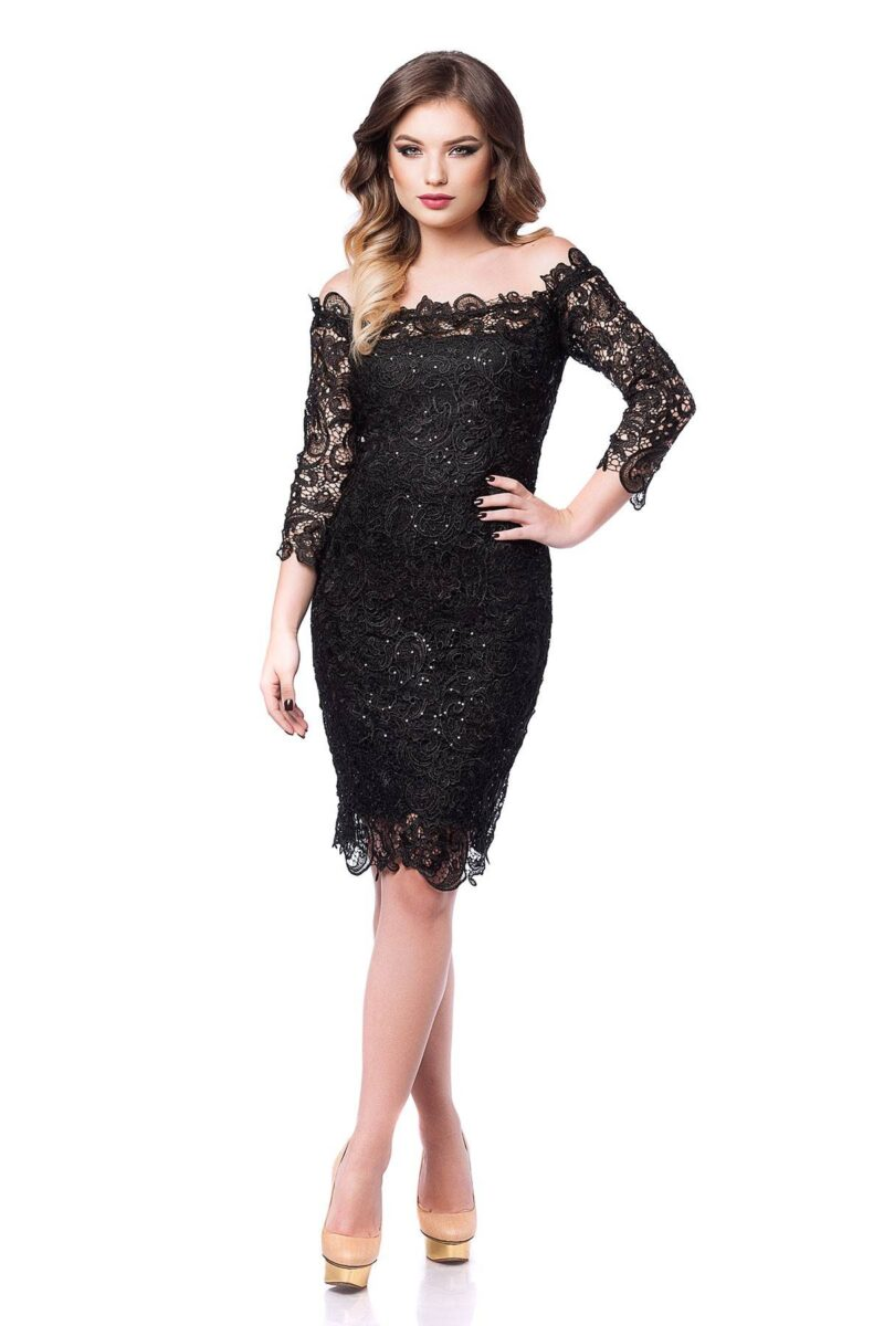 rochie de seara din dantela pretioasa neagra zaira 3