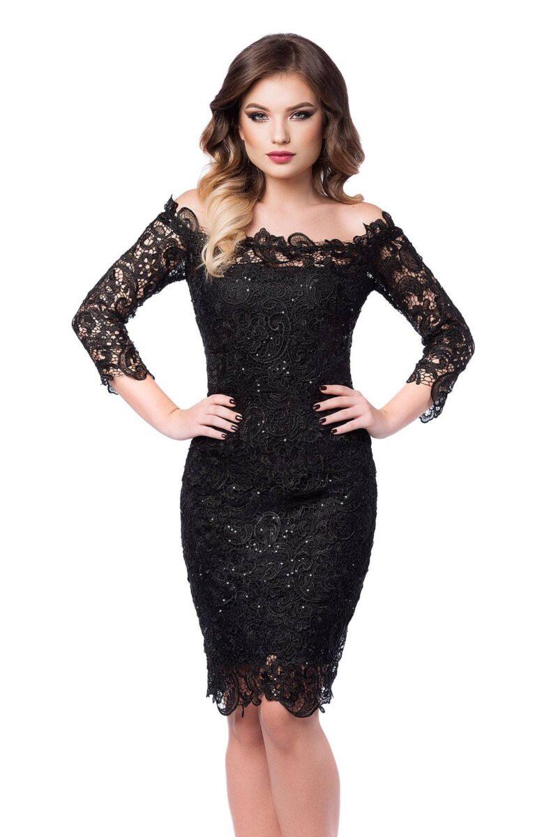 rochie de seara din dantela pretioasa neagra zaira 4
