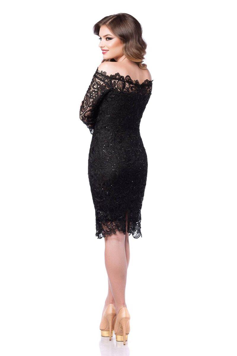 rochie de seara din dantela pretioasa neagra zaira 5