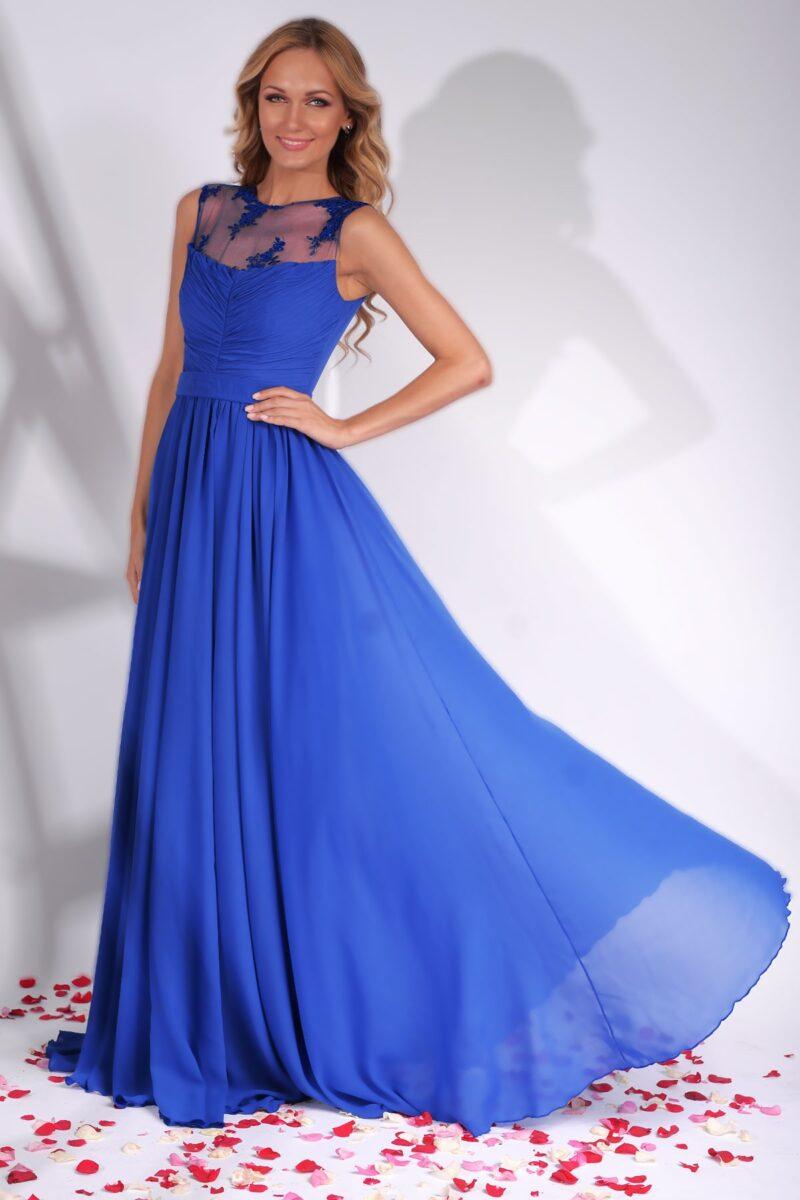 rochie de seara lunga albastra din voal cu platcuta dantela brodata azaria 3