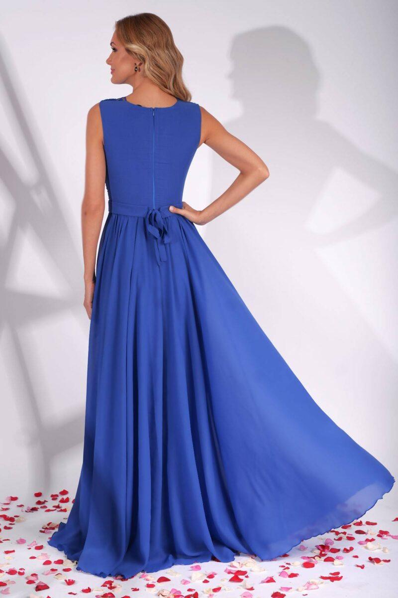 rochie de seara lunga albastra din voal cu platcuta dantela brodata azaria 4