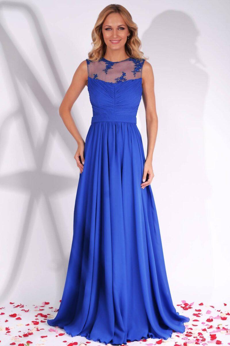 rochie de seara lunga albastra din voal cu platcuta dantela brodata azaria 5