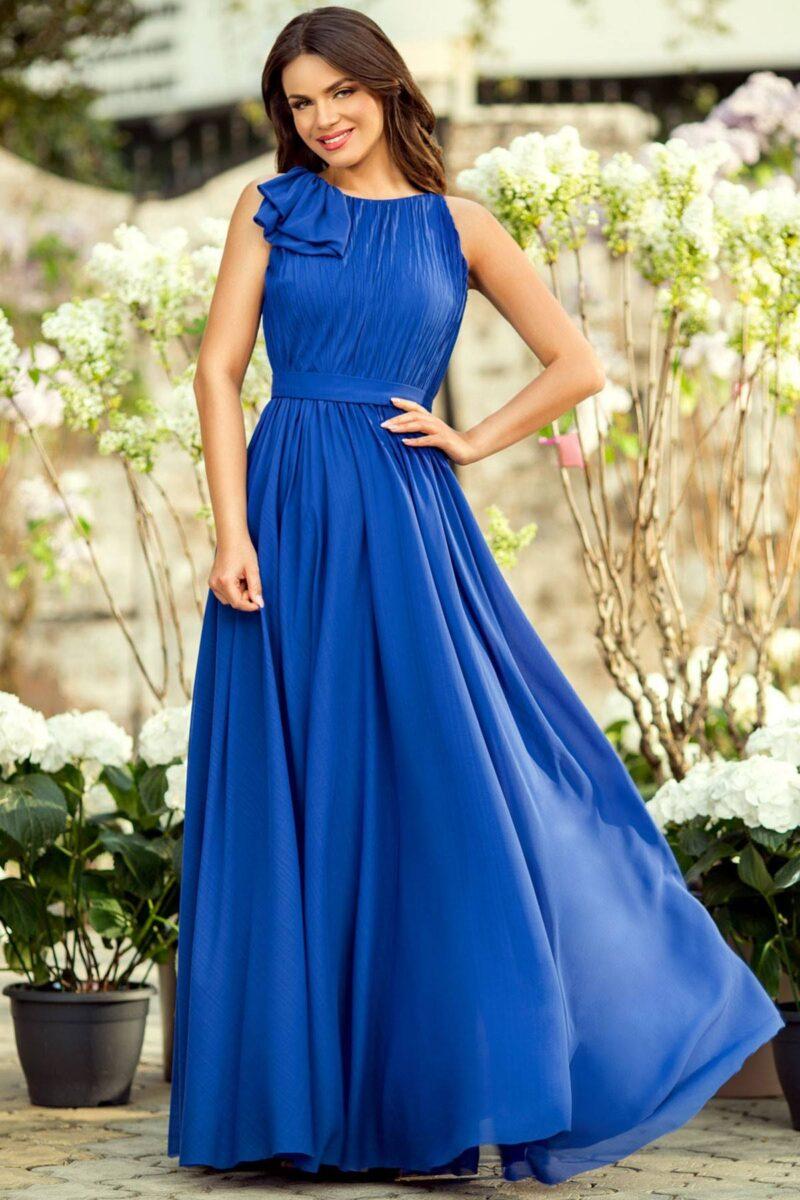 rochie de seara lunga albastra voal fin detaliu evantai verona 2