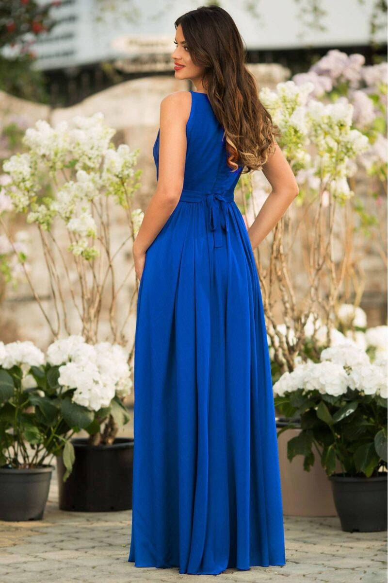 rochie de seara lunga albastra voal fin detaliu evantai verona 3