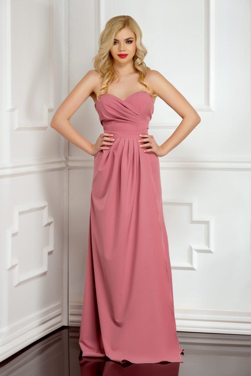 rochie de seara lunga din voal creep roz pudra cu cupe laurie 1
