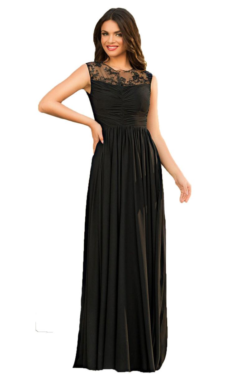 rochie de seara lunga neagra din voal fin cu patcuta de dantela pretioasa azaria 3
