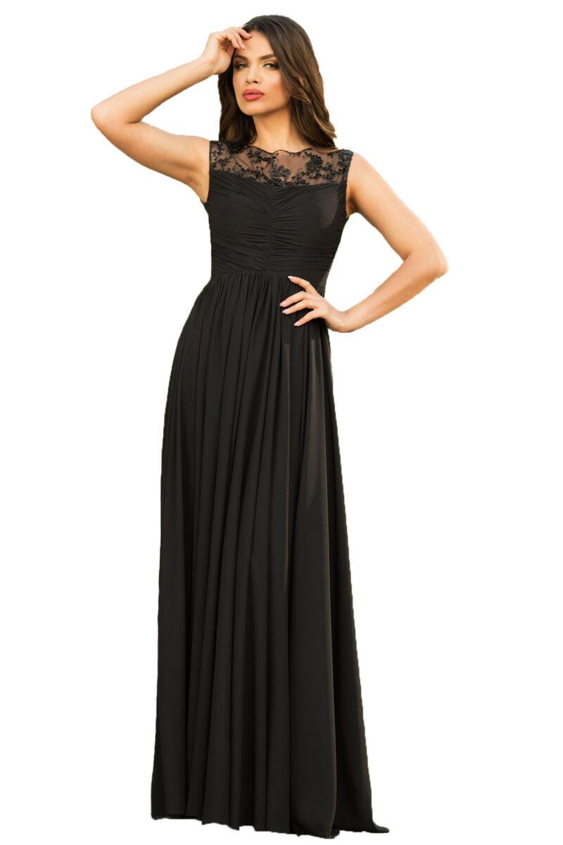 rochie de seara lunga neagra din voal fin cu patcuta de dantela pretioasa azaria 4