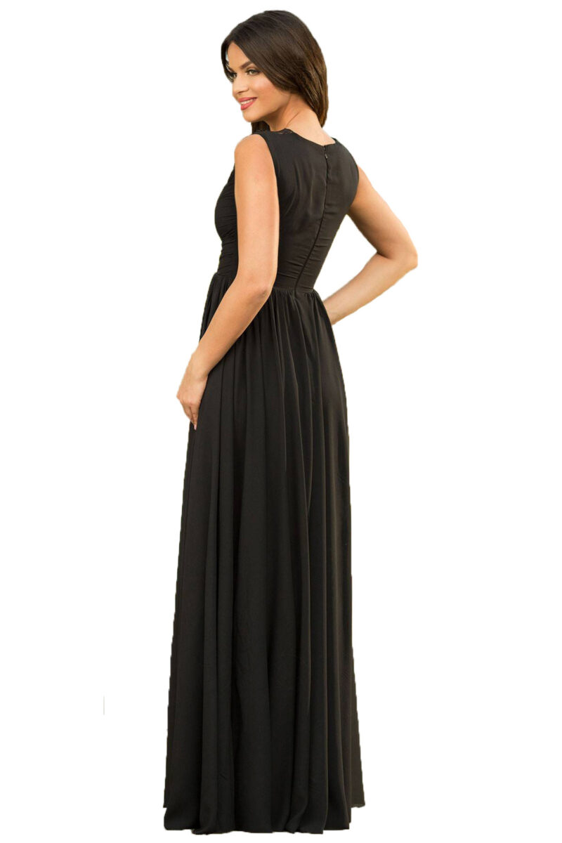rochie de seara lunga neagra din voal fin cu patcuta de dantela pretioasa azaria 5
