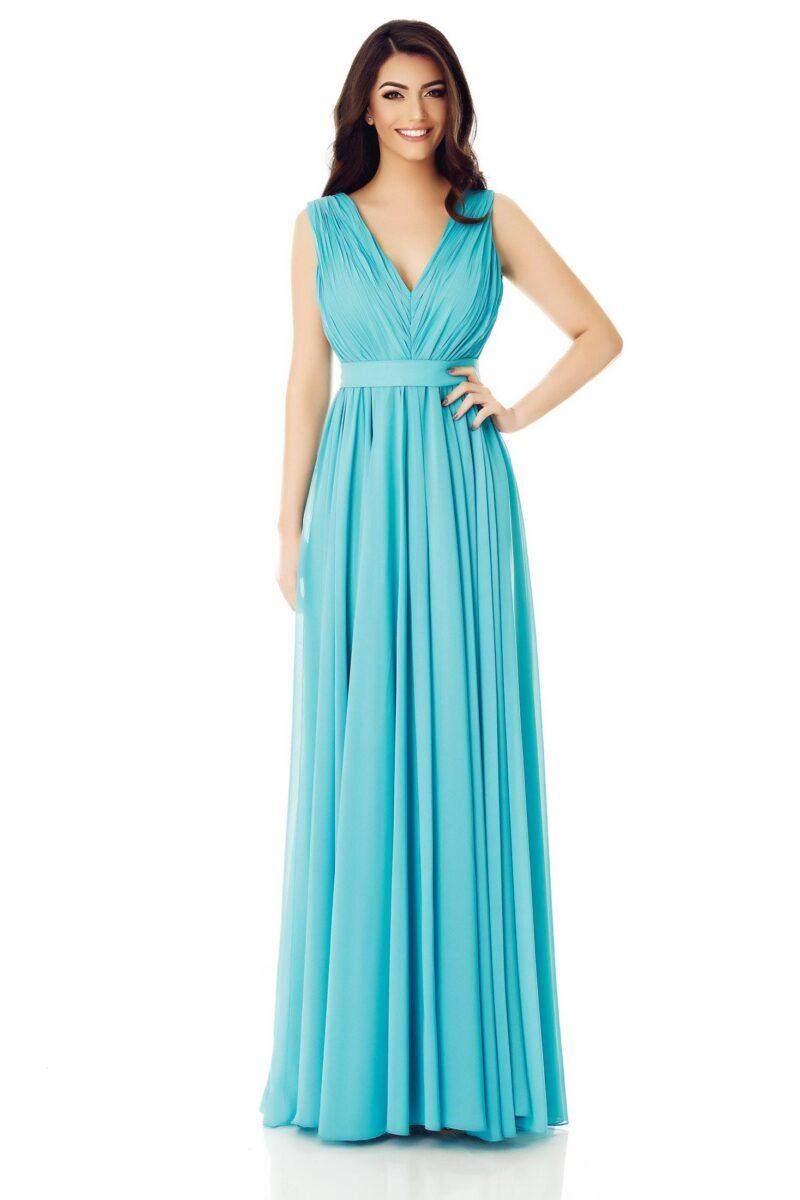 rochie de seara lunga turcoaz voal fin kora 3